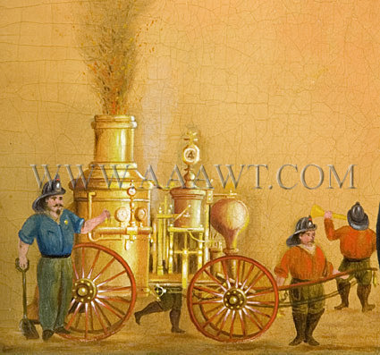 Antique Painting, Firehouse Memorial, Firefighting Tribute, engine detail
