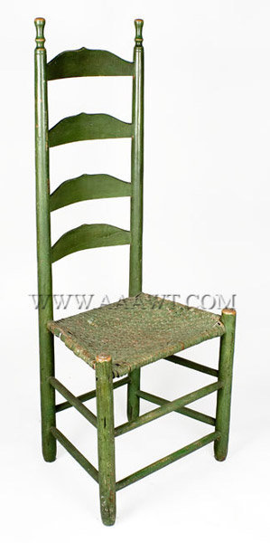 Chair, Ladder Back, American Old Green Paint 19th Century Maple With  Original Rush Splint Seat   SOLD