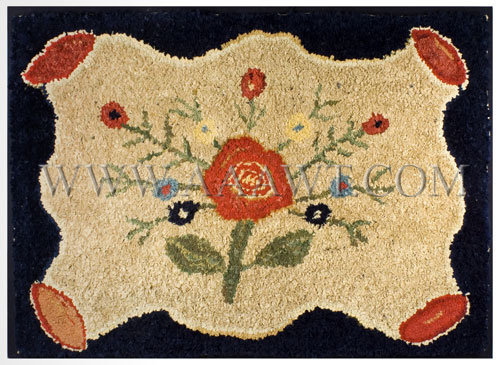 Antique Hooked Rug, Central Floral Motif, Wool on Linen, entire view
