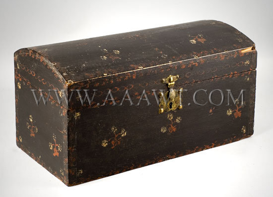 Trunk, Dome Top, Paint Decorated New England Early 19th Century, entire view