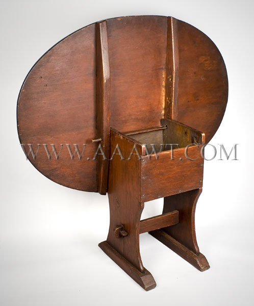 Antique Shoe Foot Hutch Table in Old Red Paint, 18th Century, open angle  view - Antique Furniture_Tavern Tables, Chair Tables, Hutch Tables