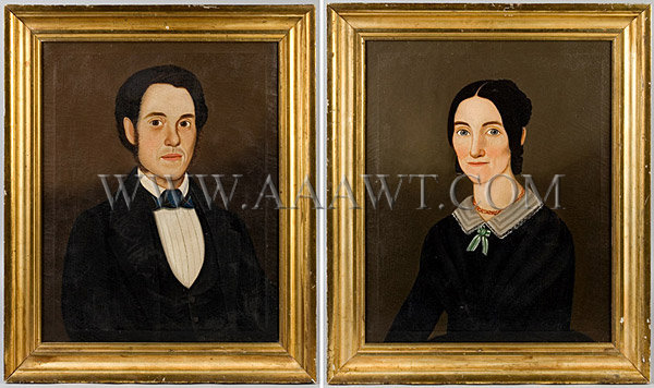 Portraits Of A Rhode Island Couple Attributed William W. Kennedy Oil On Canvas Circa-1840's, entire view