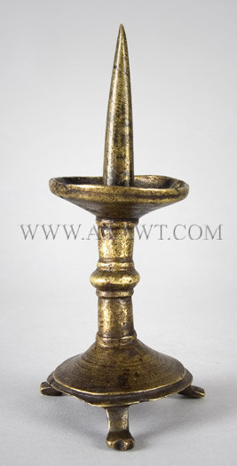 Pricket Candlestick, Rare Small Size, Brass Alloy  North West European  Circa 1250 to 1400, entire view