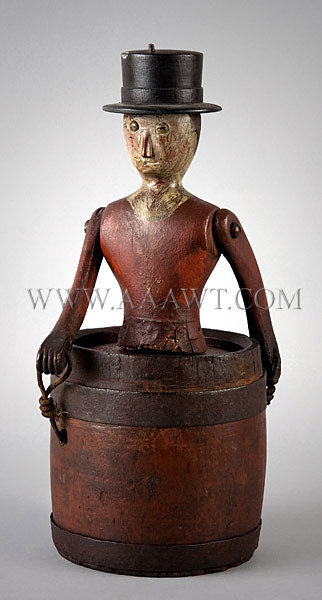 Antique Carving, Man in Barrel, Paint Decorated, angle view