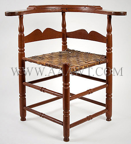 Rhode Island Round-About Chair in Red Paint Circa 1750, entire view