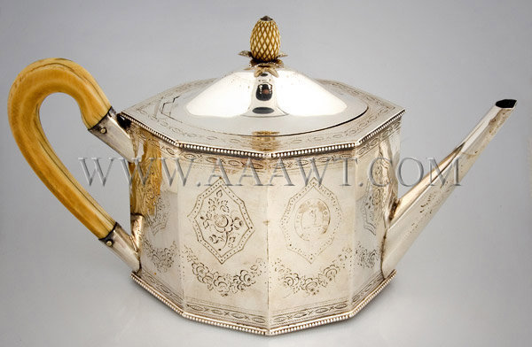 Octagonal George III Silver Teapot and Footed Undertray, teapot angle view