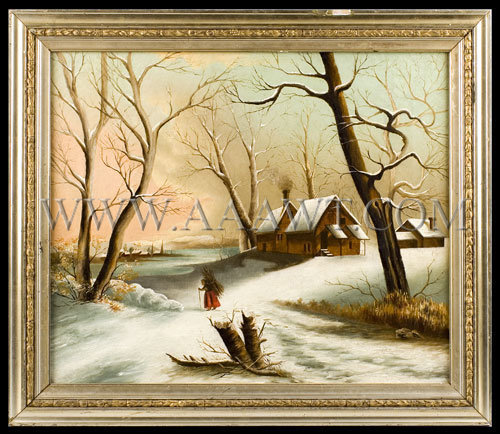 New England Winter Scene  Oil on canvas  Late 19th Century, entire view
