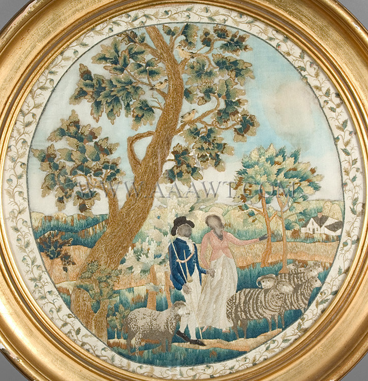 Antique Embroidery, Silk, Shepherd and Shepherdess, by Rebecca Green Butler, close up view