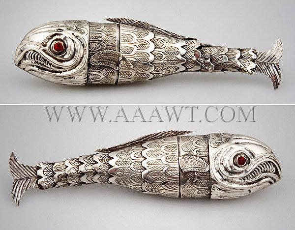 Silver, Etui, Fish Form, entire view