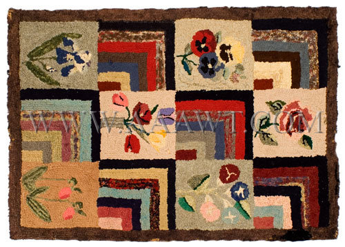Antique Hooked Rug, Geometric and Floral Blocks, Wook, entire view