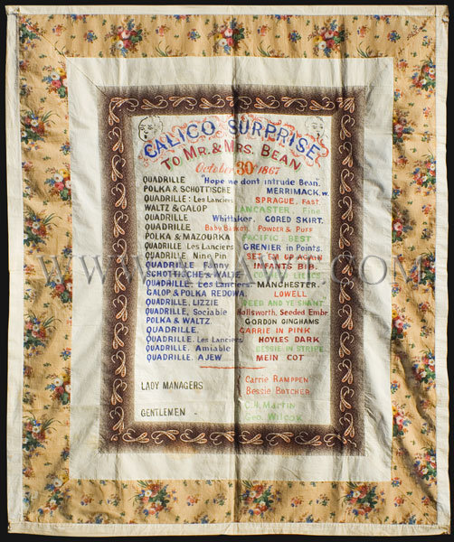 Antique Quilt, Calico Surprise Banner, 1862, to Mr. and Mrs. Bean, entire view