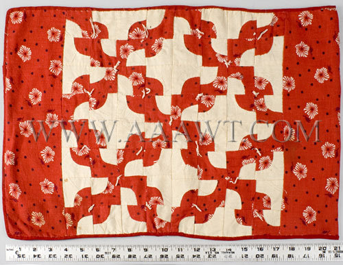 Antique Quilt, Doll's Quilt, Red and Black print on White Cotton, with ruler for scale