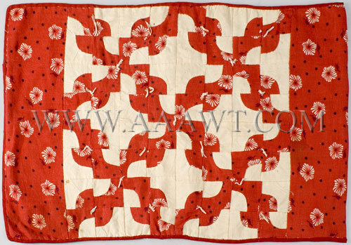 Antique Quilt, Doll's Quilt, Red and Black print on White Cotton, entire view