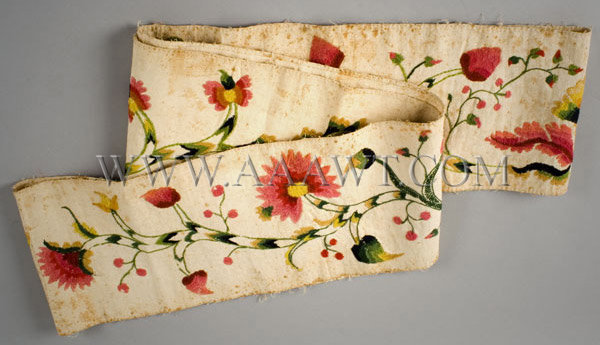 Antique Petticoat Border, Crewel Embroidery, 18th Century, folded view