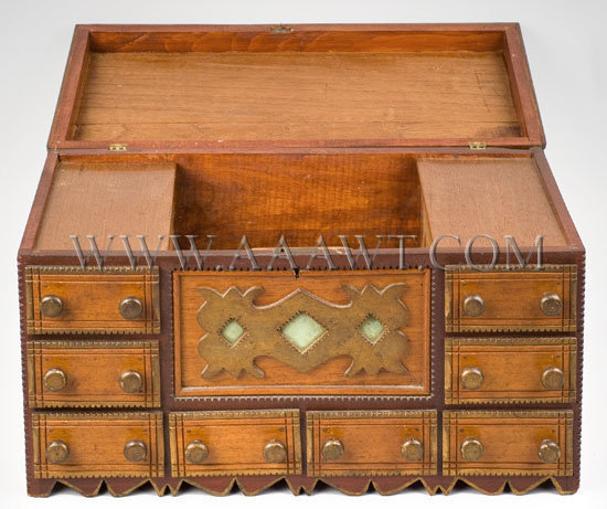 Antique Jewelry Box, Tramp Art Carving, open view