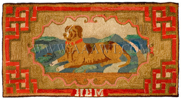 Antique Hooked Rug, Dog, Frost Pattern, entire view