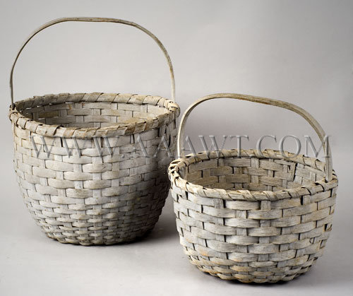 Woven Baskets Pair; Similar Weave and Paint New England Late 19th Century, entire view