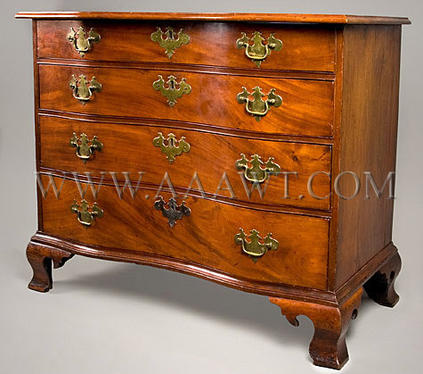 A Fine Chippendale Oxbow Chest of Drawers, The Tyler Family Chest Massachusetts, Probably Boston; Circa 1760, angle view 2
