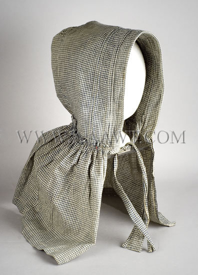 Antique Bonnet, Homespun, Blue and White Checked Cotton, angle view