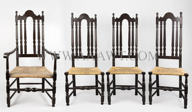 Chairs, Banister Back, Set of Four Chelsmford, Mass. C. 1730., set view