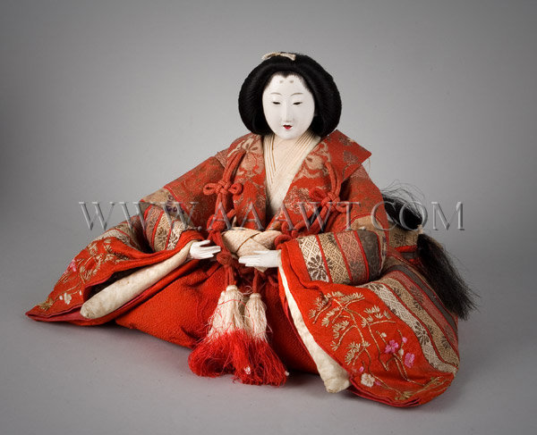 Antique Dolls, Set of Three, Japanese Figures, Circa 1915, woman close up