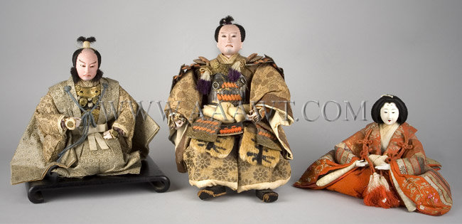 Antique Dolls, Set of Three, Japanese Figures, Circa 1915, group view