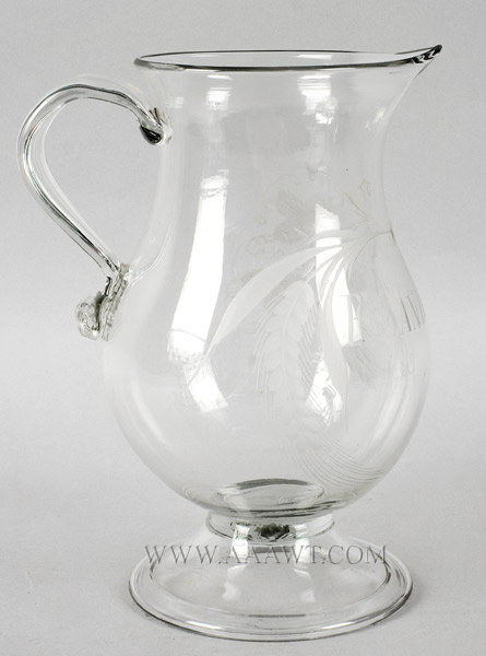Free Blown Colorless Glass Ale Pitcher, Engraved, Harps and Barley