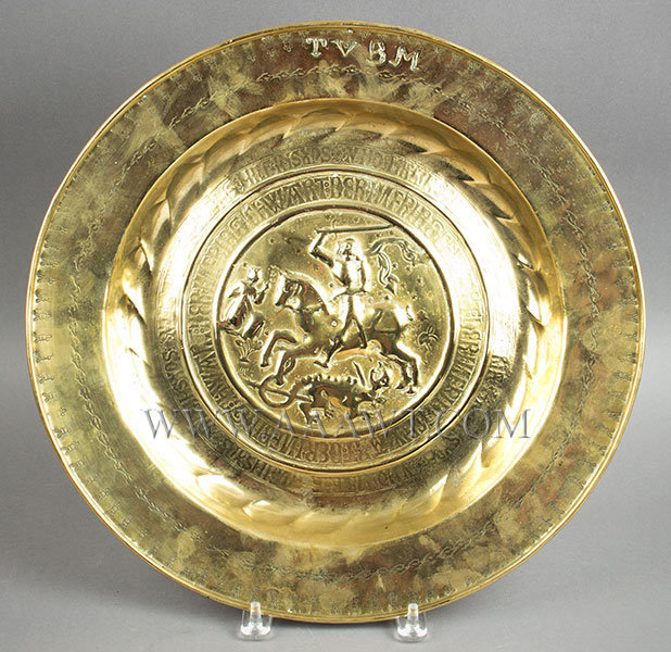 A Nuremberg Brass Alms Dish, Saint George and Dragon, Script 16th Century, entire view