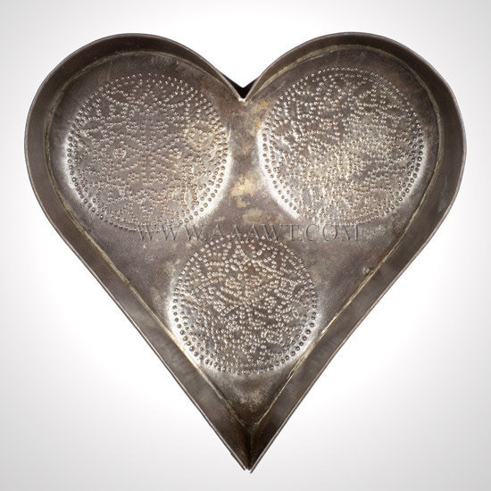 Antique Tin, Cheese Strainer, Heart Shaped, 19th Century, entire view