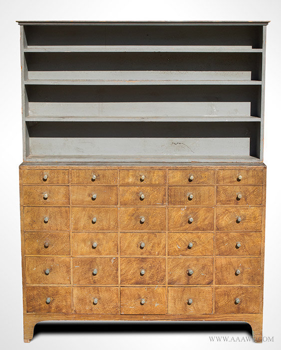 Antique Step Back Paint Decorated Apothecary with 30 Drawers, Circa 1834 to 1840, entire view