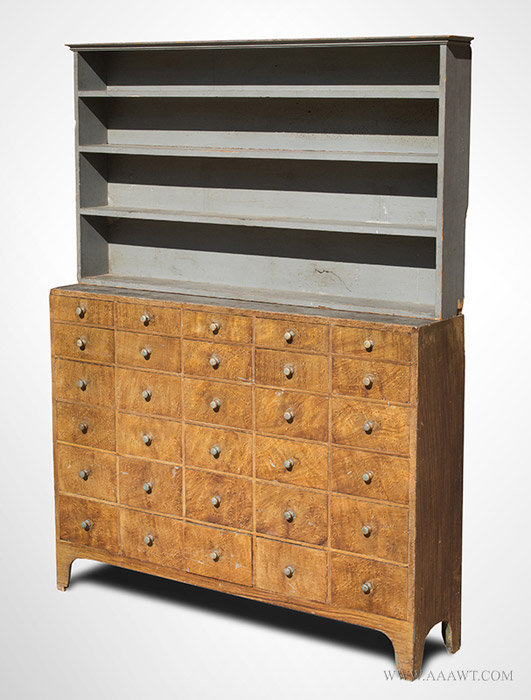 Antique Step Back Paint Decorated Apothecary with 30 Drawers, Circa 1834 to 1840, angle view