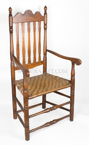 Armchair, Bannister Back New England 18th Century, entire view