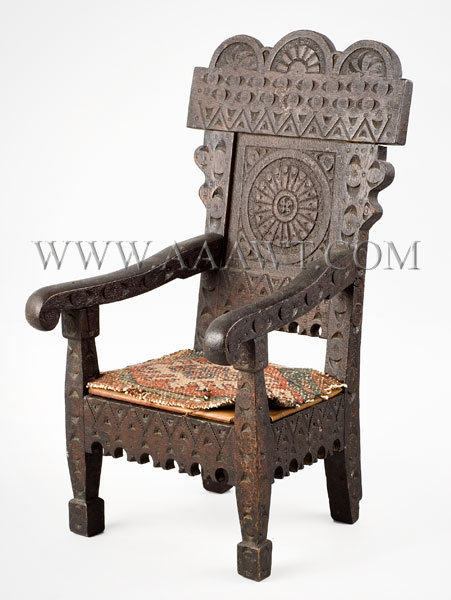 Doll Furniture, Armchair, Carved and Paneled  Anonymous  Circa 1875, entire view