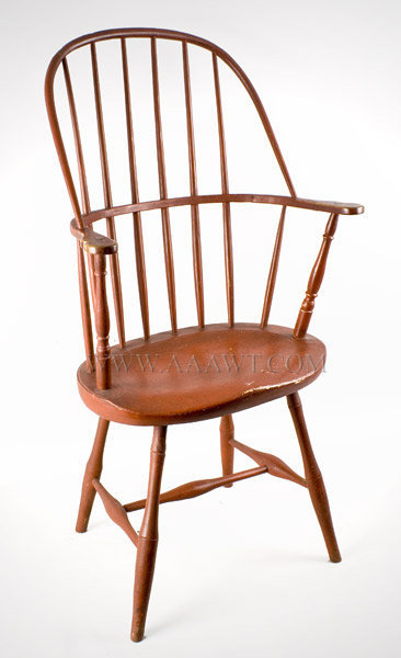 Windsor Armchair, Sack Back, Wonderful Paint, Tall and Balanced New England Circa 1800, entire view