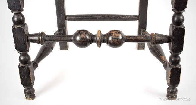 Antique William and Mary Banister Back Armchair, Price of Wales Crest, Circa 1730, turnings detail