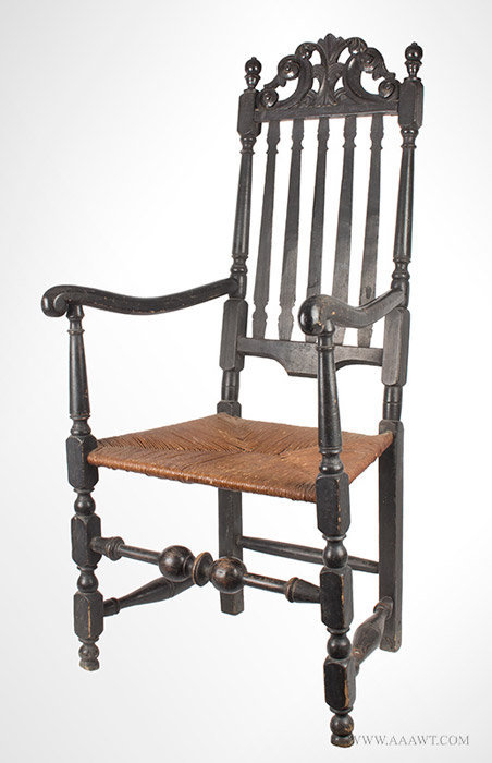 Antique William and Mary Banister Back Armchair, Price of Wales Crest, Circa 1730, angle view