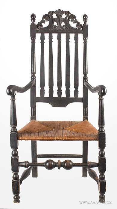 Antique William and Mary Banister Back Armchair, Price of Wales Crest, Circa 1730, entire view