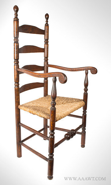 Armchair, Ladder Back Great Chair, Robust Turning, Arched Slats, Scrolled Arms Likely New Hampshire, 18th Century, entire view