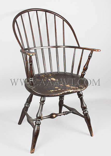 Windsor Armchair, Scrolled Handholds, Robust Baluster Turnings, Old Surface Rhode Island Circa 1780, entire view