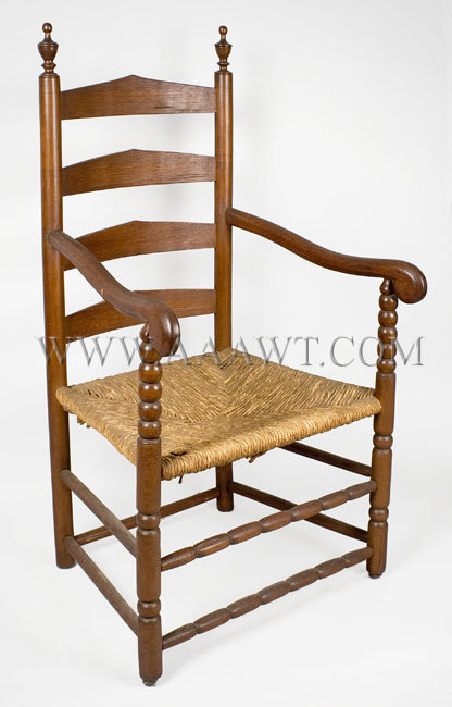 Armchair, Four slat ladder back. Bergen County, New Jersey Circa 1750. Ash  and maple - Antique Furniture_Chairs, Early, Country, American