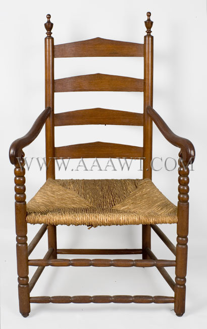 Sheraton Fancy Chairs, Set Of Six, Original White Paint And Rush Seats,  Gilt Decorated America, Circa 1810 (Five Side Chairs, One Armchair)
