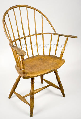 Armchair, Windsor, Bow-Back, Painted Rhode Island or Connecticut Circa 1780, entire view