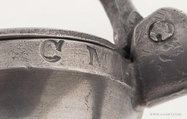 Antique Pewter American Gill Bud Balastur Measure, 18th Century, lid detail