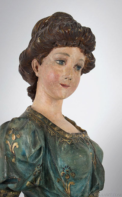 Antique Carved Band Organ Figure in Original Polychrome Surface, 18th Century, torso detail 1