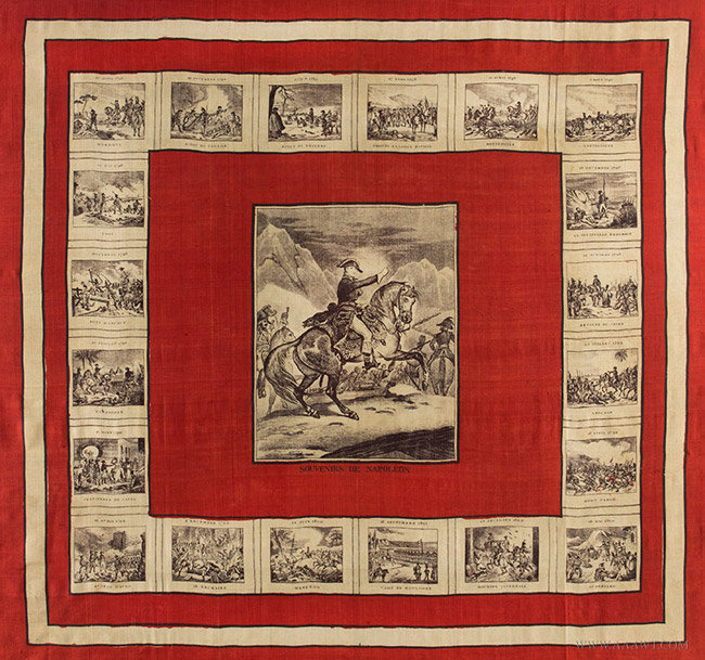 Antique Bandana Depicting Napoleon Crossing the Alps, Likely French, 19th Century, close up view