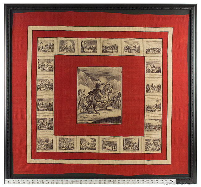 Antique Bandana Depicting Napoleon Crossing the Alps, Likely French, 19th Century, with ruler for scale
