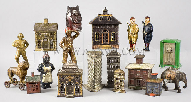 Antique Banks, Still Banks, Cast Iron, Buildings, Figures, group view
