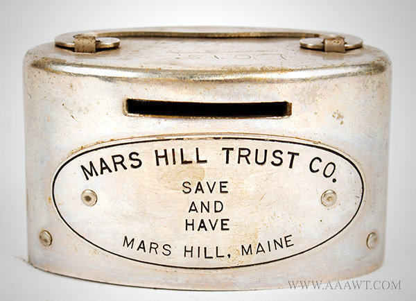 Antique Bank, Mars Hill Trust, Penny or Coin Bank, entire view