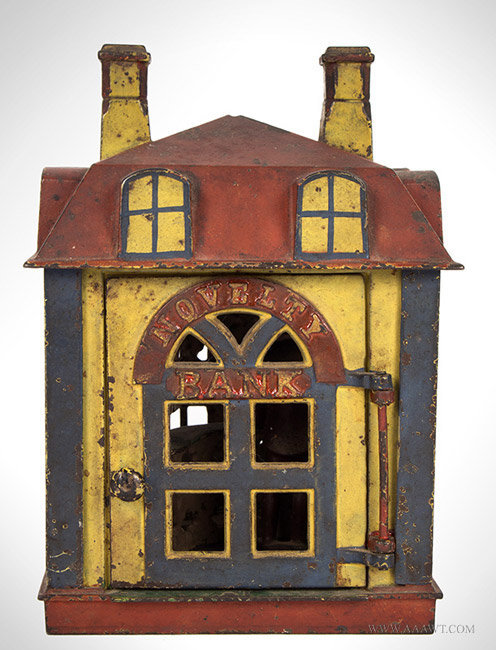 Antique Novelty Bank Mechanical Bank with Original Teller and Paint, Circa 1873 to 1890, entire view