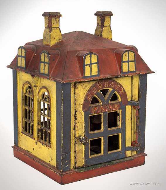 Antique Novelty Bank Mechanical Bank with Original Teller and Paint, Circa 1873 to 1890, angle view